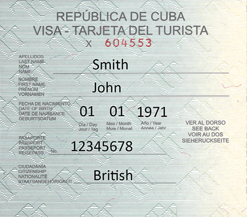 Cuba Tourist Visa Card sample